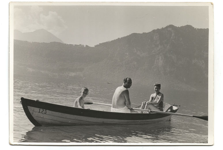 Guy van Erp and parents, Switzerland, 1930s ©H. Niedecken, Weggis & St. Moritz